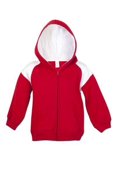 Ramo-Ramo Kids Shoulder Contrast Panel Hoodies with Zipper-Red/White / 00-Uniform Wholesalers - 6