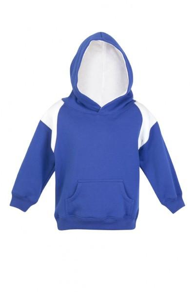 Ramo-Ramo Kids Shoulder Contrast Panel Hoodies-Royal/White / 00-Uniform Wholesalers - 7