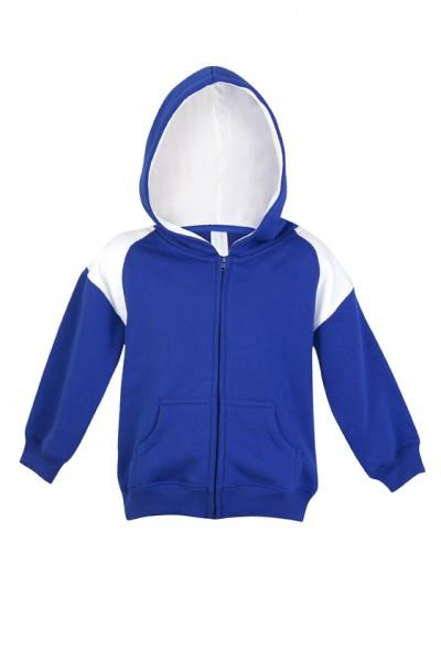 Ramo-Ramo Kids Shoulder Contrast Panel Hoodies with Zipper-Royal/White / 00-Uniform Wholesalers - 7