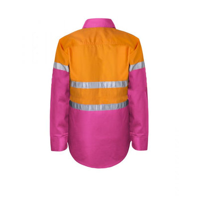 Kids Hivis Two Tone Long Sleeve Shirt with 3M Reflective Tape, 25mm wide