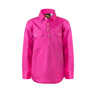 Kids Lightweight Half Placket  Long Sleeve Shirt