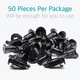 50 Pcs 9mm Bumper, Engine Cover, Fender & Grille Retainer Clips