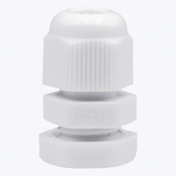 PG 7 Cable Gland - 20 Pcs White Plastic Nylon Waterproof Wire Glands - Lantee Online Store