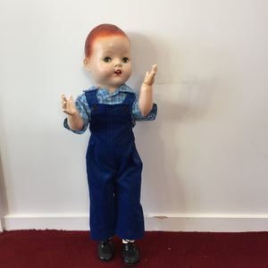 boy doll outfit for 21 inch doll corduroy overalls and blue checked shirt