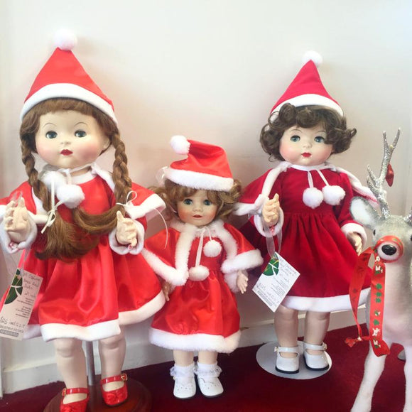 Doll santa outfits in red satin or red velvet for 21-24 inch or 16-18 inch doll