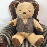 knnitted teddy bear vest with buttons soft brown