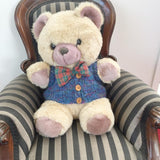 knitted teddy bear vest blue with buttons up front