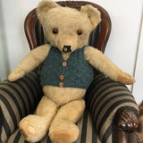 Green 100% wool vest for teddy 14-20 inch bear