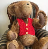 red cable vest for large bear 100% wool