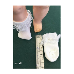 lace edged dolly socks in small, medium, large