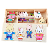 72pcs Cartoon 4 Rabbit Bear Dress Changing Jigsaw Puzzle Wooden Toy Montessori Educational Change Clothes Toys For Children Girl
