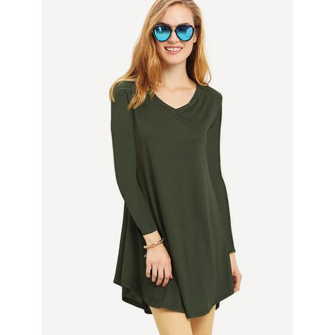 New Fashion Women Long Sleeves With V-Neck Pleated Dress Army Green