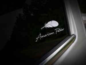 White Vinyl Decal - Feather