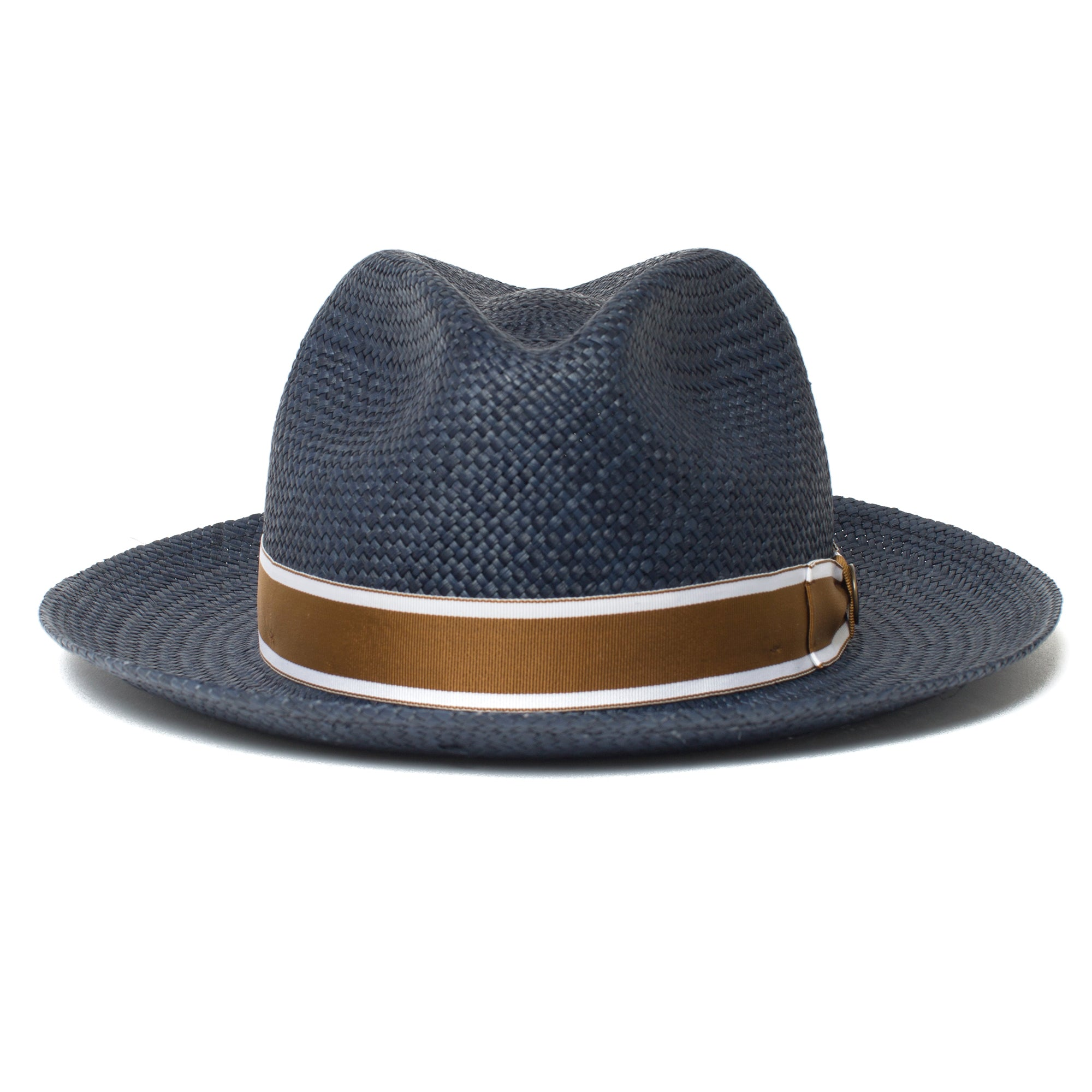 69cc13c813f62 Goorin Bros. southern coast center dent wide brim straw fedora hat Navy  front view