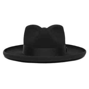 Goorin Bros. colonel pierce teardrop wide brim felt fedora hat Black front view