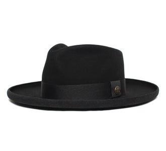 Goorin Bros. colonel pierce teardrop wide brim felt fedora hat Black left side view