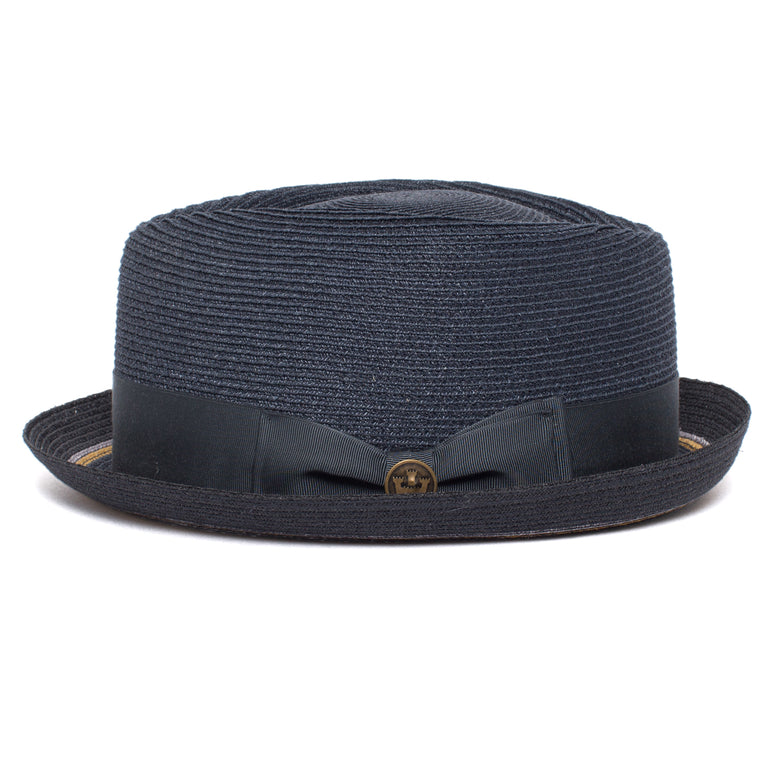 c3261225297 ... Goorin Bros. the new guy diamond short brim straw porkpie fedora hat  Navy side view ...