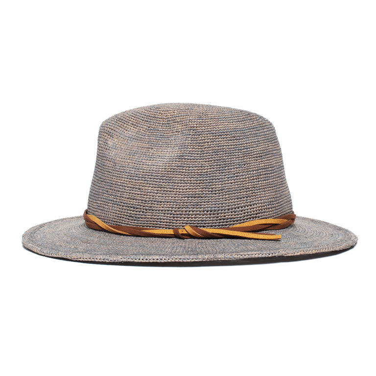 012c93bf40863 ... Goorin Bros. blueberry haze center dent wide brim straw fedora hat Grey  side view ...