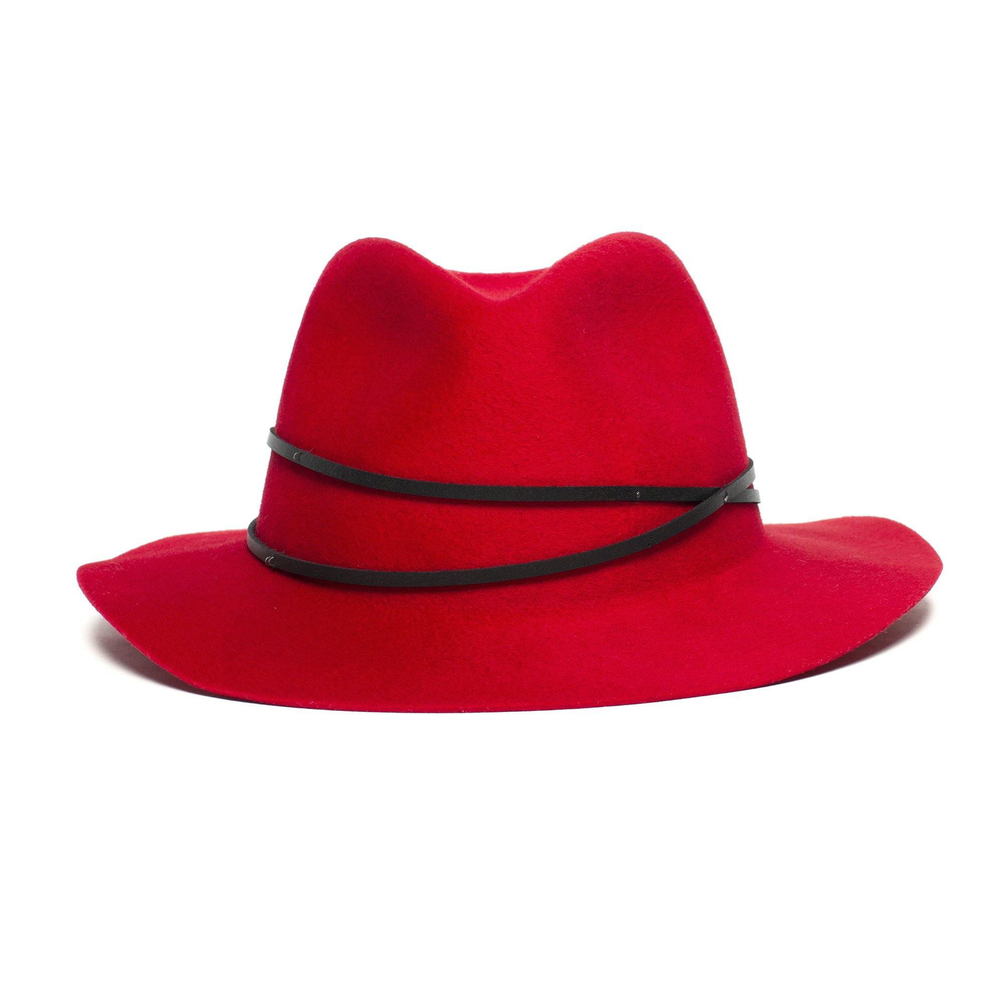 Goorin Bros. 5th avenue wool wide brim fedora Red front view