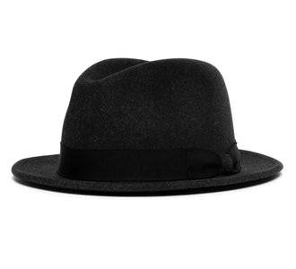 Goorin Bros. wonder short brim wheat straw fedora Charcoal left side view