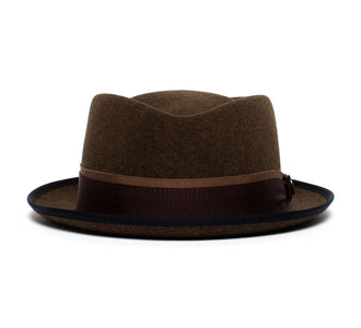 Goorin Bros. phil jones short brim wool felt porkpie Brown front view