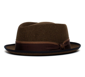 Goorin Bros. phil jones short brim wool felt porkpie Brown left side view