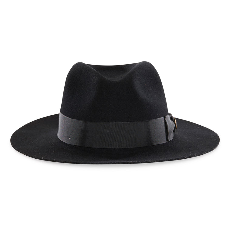 83106e9bb3797 Goorin Bros. county line teardrop wide brim felt fedora hat Black front view