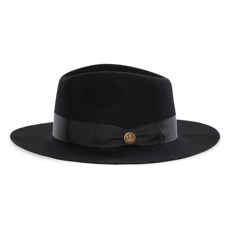 5fe8798a1472d ... Goorin Bros. county line teardrop wide brim felt fedora hat Black side  view ...