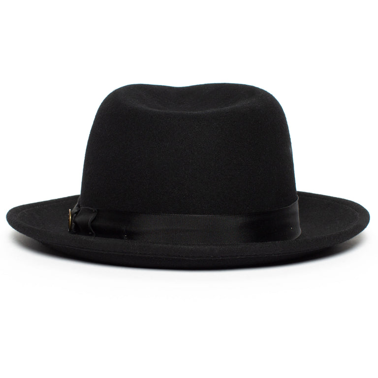 0a7717f7a042c ... Goorin Bros. the doctor teardrop wide brim felt fedora hat Black back  view ...