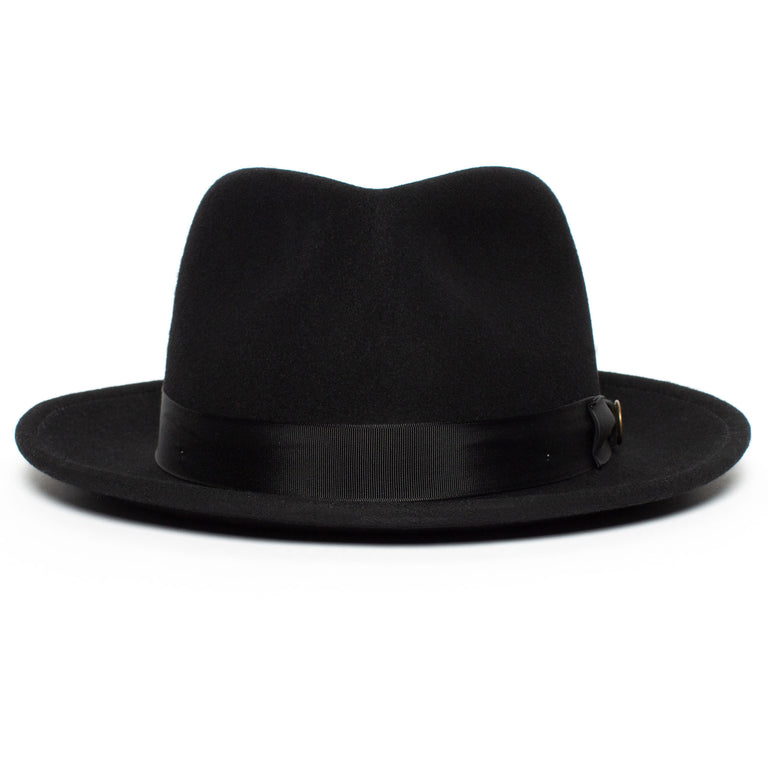 063c33cbdfad0 Goorin Bros. the doctor teardrop wide brim felt fedora hat Black front view