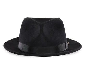 Goorin Bros. the doctor teardrop wide brim felt fedora hat Black front view