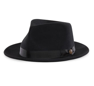 Goorin Bros. the doctor teardrop wide brim felt fedora hat Black left side view
