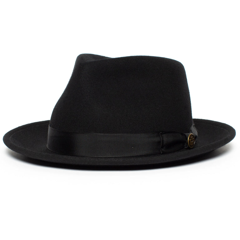 3882996f7d6ec ... Goorin Bros. the doctor teardrop wide brim felt fedora hat Black left  side view ...