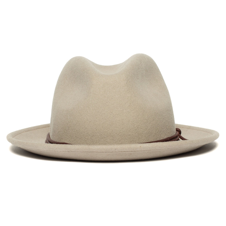 7f6d2b79e0d546 Goorin Bros. dean the butcher center dent wide brim felt fedora hat Sand  front view