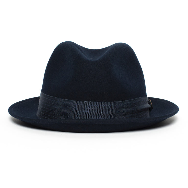 02f8ab76ea4b7 Goorin Bros. sugar blues center dent medium brim felt fedora hat Navy front  view