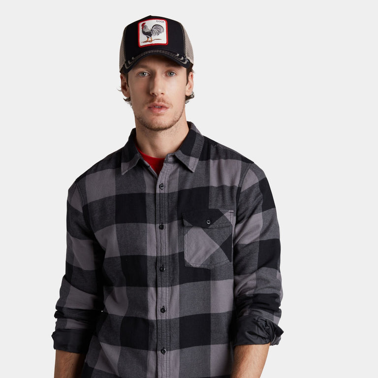 732643bc7c867 ... Goorin Bros. rooster cotton trucker baseball cap Black left side view  ...