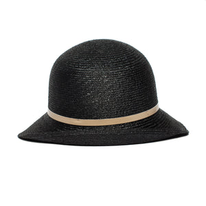 Goorin Bros. rila straw assymetrical cloche hat Black back view