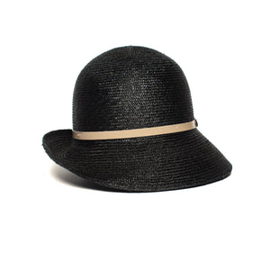 Goorin Bros. rila straw assymetrical cloche hat Black front view
