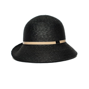 Goorin Bros. rila straw assymetrical cloche hat Black left side view