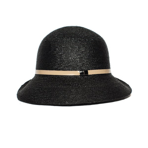 Goorin Bros. rila straw assymetrical cloche hat Black side view