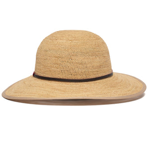 Goorin Bros. on stage wide brim raffia straw floppy womens hat Natural back view