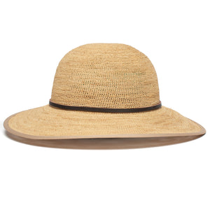 Goorin Bros. on stage wide brim raffia straw floppy womens hat Natural front view
