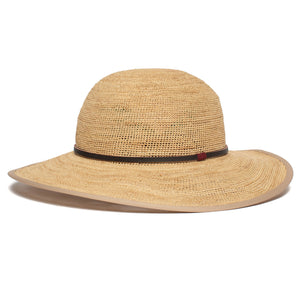 Goorin Bros. on stage wide brim raffia straw floppy womens hat Natural left side view