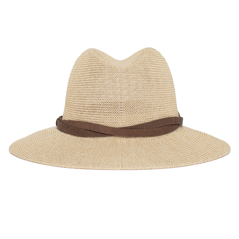 eedd8f7a4e632 ... Goorin Bros. fatima center dent wide brim paper poly blend fedora hat  Creme back view