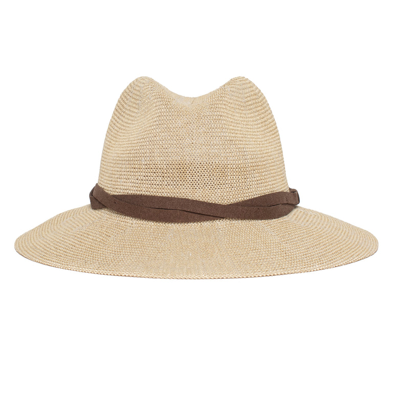 b71b52e2a448b Goorin Bros. fatima center dent wide brim paper poly blend fedora hat Creme  front view