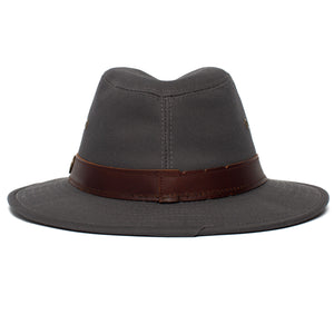 Goorin Bros. florence lake center dent wide brim cotton fedora hat Grey back view