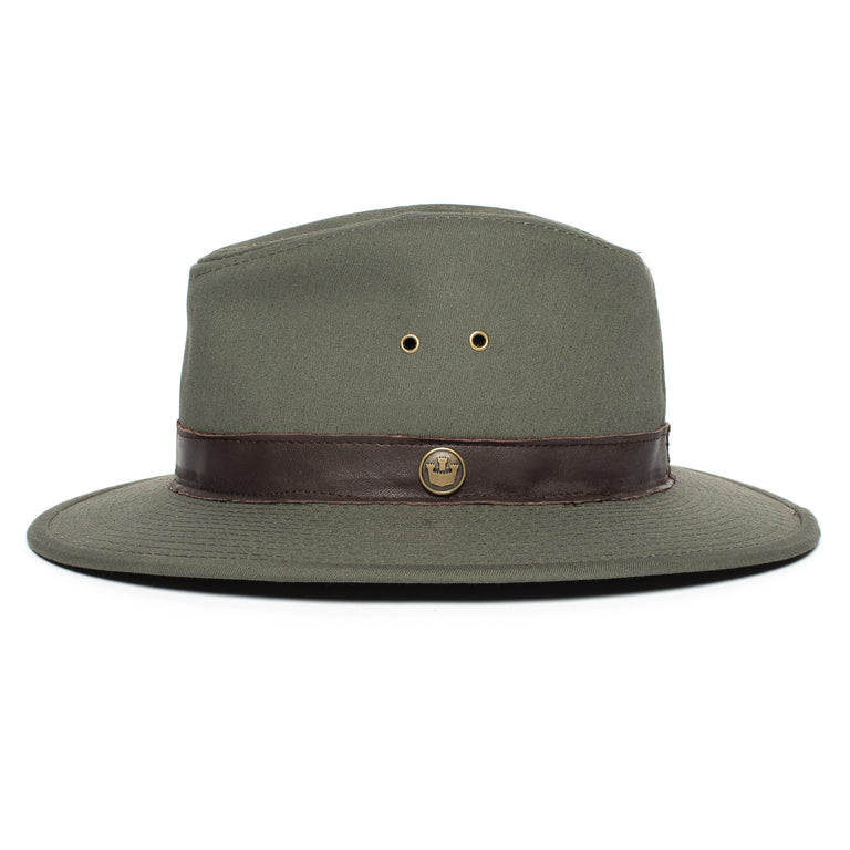 ac7b691085310 ... Goorin Bros. florence lake center dent wide brim cotton fedora hat  Olive side view ...