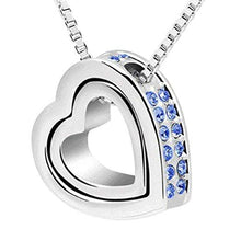 1PC Fashion Double Heart Crystal Rhinestone Eternal Love Silver Necklace - http://www.next-generation.store