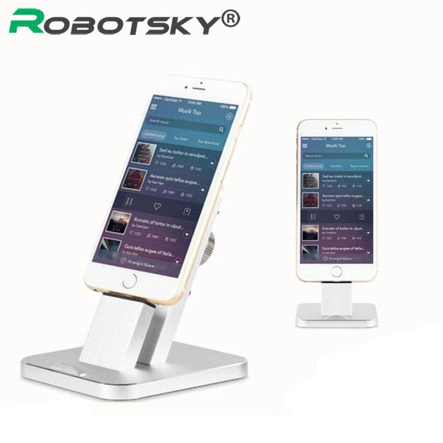 Robotsky Fashion Phone Holder For iPhone 5 6 iPad Tablet Aluminum 2 in 1 Charging Dock Cellphone Clip Stand Mount Bracket Cradle - http://www.next-generation.store