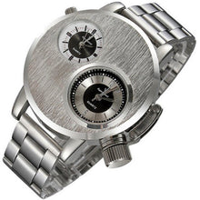 Quartz Quality Sport Watch Dual Time Zone Dial Silver Steel Clock Business - http://www.next-generation.store